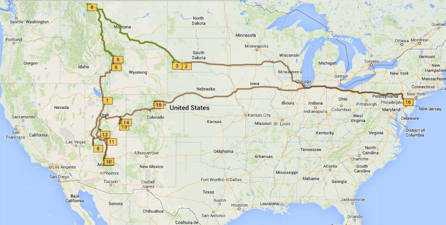 Cross Country National Park Trip Towing And Route Advice Travel - Us map national parks road reip